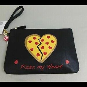 "NWT Betsey Johnson Pizza Wristlet  10.5"" x 7"""
